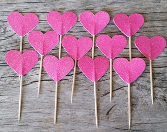 12 Hot Pink Heart Cupcake Toppers