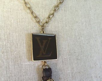 LV INSPIRED Charm Necklace handmade/repurposed from LV bag.