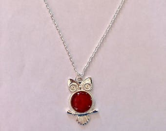Red with Gold Wise Owl Necklace