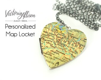 Custom Map Necklace, Large Heart Locket, Vintage Locket, Personalized, Map Jewelry, Silver Chain - Choose Your City, Gift for Her, Traveler