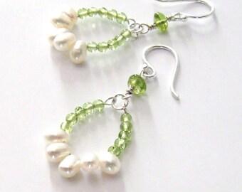 Peridot Gemstone Hoop Earrings, White Freshwater Pearls, Sterling Silver, August Birthstone June Birthstone,  Hooks, Posts, Leverbacks