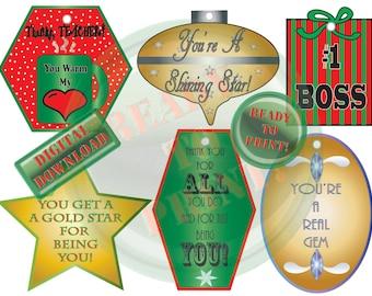 6 Christmas Gift Tags Printable Teacher Present Boss Appreciation Gift Label Thank You Holiday Ornaments Star Present Coffee Mug Heart Bow