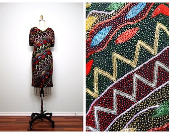Heavily Beaded Trophy Dress / 80's Retro Multicolored Embellished Party Dress M