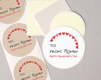 """to from Valentines Day label stickers rainbow RED hearts modern minimalist personalized round 12 large 2.5"""" or 20 medium 2"""" gift wrap tags"""