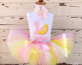 Pink Lemonade Tutu Outfit, 1st Birthday Tutu Set, Pink and Yellow, Personalized Lemon Bodysuit, Sewn Tutu, Headband, Baby Girl Cake Smash