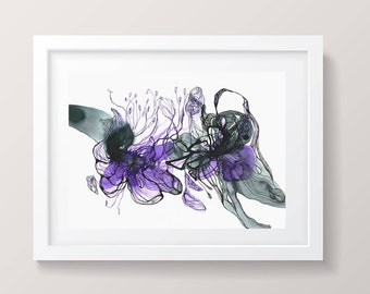 """Watercolor flowers Purple abstract flower, gallery wall art, purple wall art, abstraction, ORIGINAL painting, 11 1/2 x 8 1/3"""""""