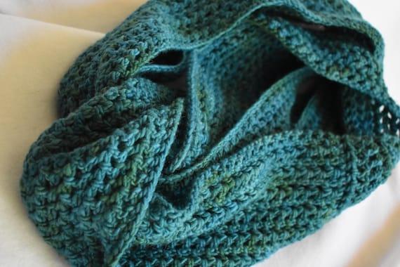 Teal Gradient Infinity Scarf -- Handmade Crochet Wool Scarf