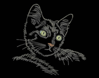 Cat embroidery design, Machine embroidery design, 4 Sizes, Instant download