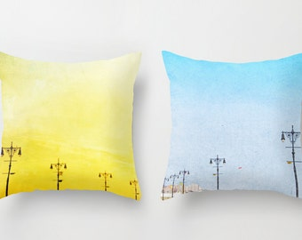 Set of Two Boardwalk Lights Throw Pillows with Inserts // Fun and bright turquoise and yellow decorative pillows // Decorative pillows
