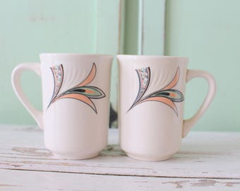 1980s Vintage RETRO Coffee Mug Set of 2...retro mugs. set. espresso. kitschy. 1980s mugs. mod. retro kitchen. atomic. drink. swirl. 80s glam
