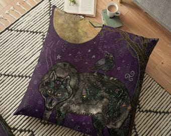 I Don't Speak Human, Pillow, Wolf Pillow, Fantasy Animal Pillow, Whimsical Art, Illustration, Raven Pillow, Crow Pillow, Nature Lover,Pagan
