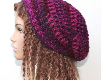 Soft slouchy beanie, dark berries pink red hat, small Dread Tam hat, Slouchy Beanie, Hippie Snood Hat women hat slouch beanie hat, woman hat