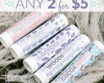 ORGANIC lip balm set of 2, Choose between 5 scents