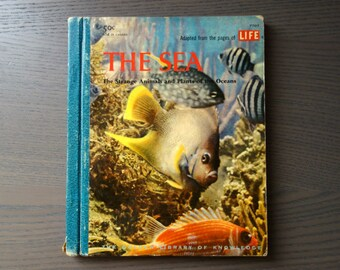 Vintage Children's Book, 1958 Hardcover The Sea:  The Strange Animals and Plants of the Oceans, Golden Library of Knowledge Science Book