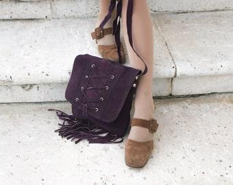 Vtg purple suede bag