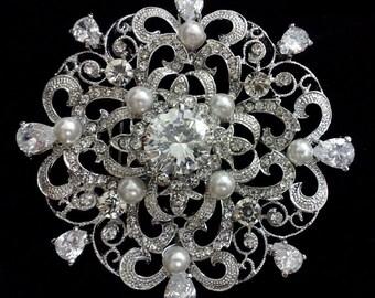 Crystal Pearl Bridal Broach, Swarovski Bridal Jewelry, Silver Wedding Brooch Pin, Flower Brooch, Bridal Dress Jewelry, Gift for Her, CELLIA