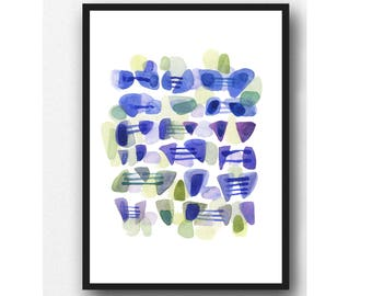 Sea Glass Connected, Abstract watercolor painting blue green abstract painting