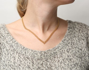 Dainty Gold Necklace, V Necklace, Chevron Necklace, Layering Gold Necklace, Geometric Necklace, Delicate 24k Gold Plated Jewelry.