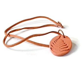 Aromatherapy Essential Oil Diffuser Necklace, Terracotta Fern Pendant