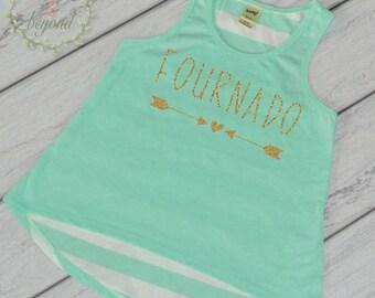 Fournado 4th Birthday Shirt Girl 4th Birthday Shirt Four Shirt Girl's Birthday Shirs Trendy Kids Clothes Birthday Tank Top 215