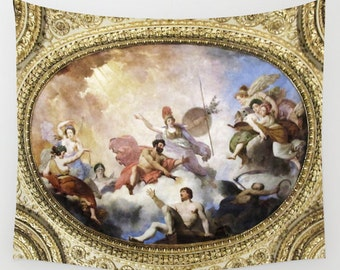 Fresco on Ceiling Tapestry, Mythological Large Wall Decor, Dorm Bedding, Hotel, Rich Gold, Home Decor, Wall Hanging, Paris Tapestry,Classic
