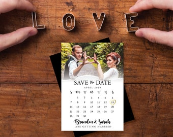 Save the Date Calendar Magnet, personalized, faux gold heart, calendar save the date, wedding, photo magnets, save the date + Envelopes