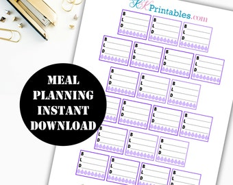 Meal Planning Printable Planner Stickers // Erin Condren Printable / Planner Instant Download / Planner Insert Digital Download 00115