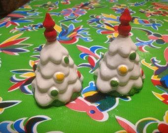 Vintage hand painted ceramic Christmas tree salt and pepper shakers