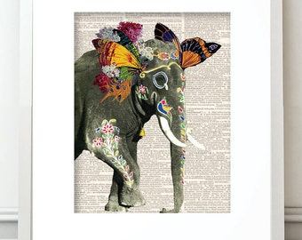 Elephant, Elephant Print, Print Elephant, Indian Elephant, Elephant Photography, Elephant Collage, Elephant Mixed Media, Elephant Wall Art