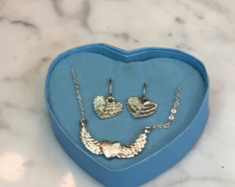 Heart Angel Wing Necklace and Earrings
