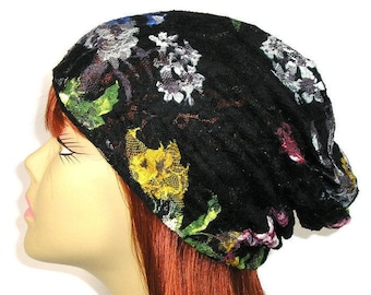 Black Lace Slouchy Hat Boho Black Floral Slouchy Beanie Boho Spring Beanie Summer Slouch Hat Black Lace Beanies Lightweight Slouchy Beanies