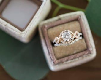 Velvet Ring Box, Vintage style in Cafè Lattè  For Proposals, Wedding Ceremonies , Heirloom Jewelry Storage, Elegant Neutral Color