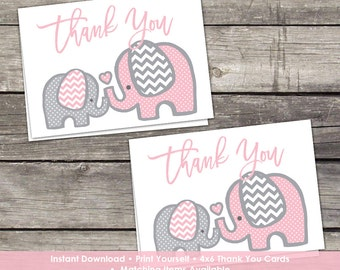 YOU PRINT Pink Elephant Thank You Cards - Baby Shower Thank You Cards - 4x6 - Instant Download Baby-103