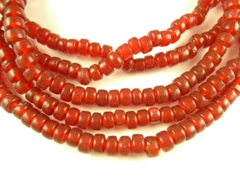 "26"" lovely translucent ruby red Czech glass pony trade beads African AA-0035"