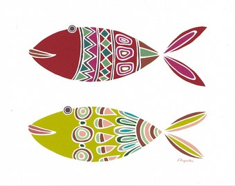 Retro kitchen poster, Kitchen art, Colorful fish wall art, Red Green fish print, Fish print