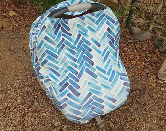 Stretchy Car Seat Cover -Baby Car Seat Cover -  Blue Nursing Poncho - Nautical Baby Canopy - Baby Shower Gift - Multi Purpose Baby Cover
