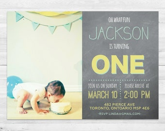First Birthday Invitation Boy, Blue And Yellow,  Photo Birthday Invitation, Chalkboard, First Birthday, Any Age, Printable