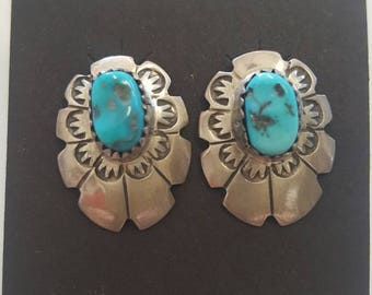 Navajo Sterling and Turquoise Post Earrings Signed LS