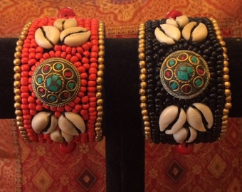 Cuff Bracelet with Gold Beads, Stones and Shells- Orangish Red or Black