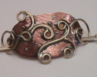 Metal Hair Barrette, Copper and Brass, slide hair pin, hair accessories, hair jewelry, hair care
