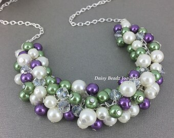 Purple and Olive Pearl Necklace Chunky Jewelry Green Necklace Pearl Jewelry Olivie Green Necklace Bridesmaid Gift Bridal Party Wedding Gifts