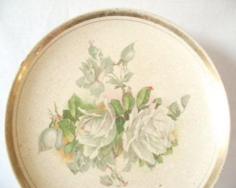 Vintage Rose Plate - Western Gem National China Co - Antique Distressed China
