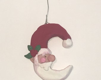 Crescent Shaped Santa Ornament