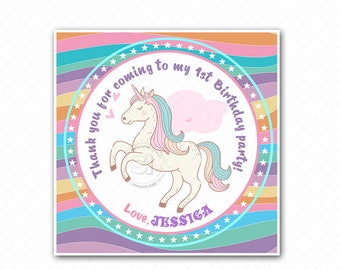 "Custom Printable Unicorn 2.5"" Tags-Thank you Printable Square Tags- Personalized Tags, DIY (You Print) 2.5"" tags-Digital file"