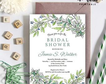 Floral Bridal Shower Invitation | 5x7 | Editable PDF File | Instant Download | Personalize at home with Adobe Reader