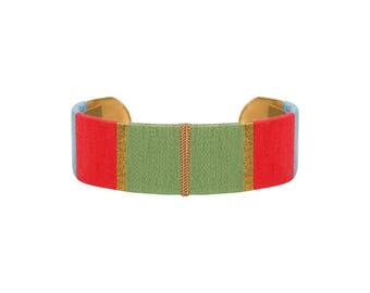 Cuff Bracelet LUCIEN - green, pink, blue and gold