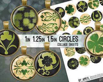 Digital Collage Sheets St Patricks Shamrock 1 inch 1.25 and 1.5 Circles Printable Download for Pendant Magnet Bottle Cap Necklaces JPG