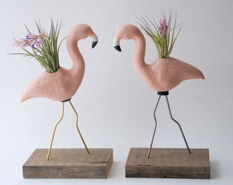 Porcelain Pink Flamingo Planter/ Plant Ornament