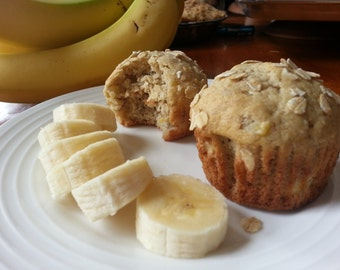 Banana nut muffins homemade from scratch