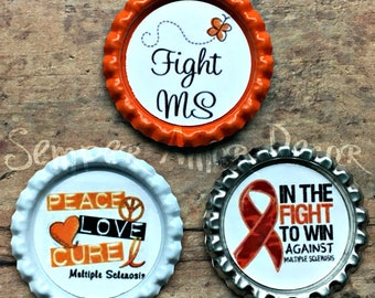Multiple Sclerosis, Awareness Ribbon Pin, MS Magnets, MS Push Pins, MS Awareness, Awareness Ribbon, Orange White Magnets, Fight Ms, Orange